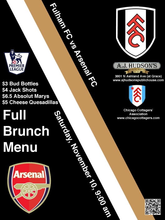 Fulham FC v Arsenal FC, Saturday, November 10, 2012, 9:00 am